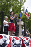 "Young Woman Sings ""God Bless America"" During Memorial Day, 2011 Ceremonies, Concord, MA Photographic Print"