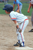 A Little League Baseball Player at First Base, Hebron, CT Photographic Print