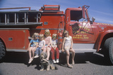 Children Wearing Sunglasses with a Fire Truck, Dairyland, WI Photographic Print