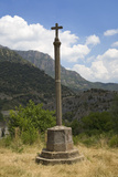 Stone Cross in Deserted Village of Aragon, in the Mountains, Province of Huesca, Spain Photographic Print