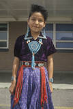 Native American Navajo Girl Wearing Colorful Dress and Jewelry, Blanding, Southern Ut Photographic Print