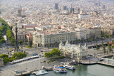 Aerial View of La Rambla Near the Waterfront with Columbus Statue in Barcelona, Spain Photographic Print