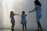 Little Girls Playing in Fountain at Dorothy Chandler Pavilion, Los Angeles, CA Photographic Print
