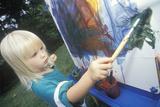 A Pre-School Girl Using Watercolors, Washington D.C. Photographic Print