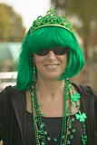 St. Patty's Day, a Woman Smiles Dressed in Green for St. Patrick's Day in Santa Barbara, California Photographic Print
