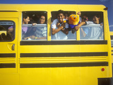 Schoolboys in a Yellow Schoolbus Photographic Print