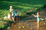 A Father Spending Time with His Children at a Creek Photographic Print