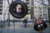 Children on Tire Swing in Park, Brooklyn, NY Photographic Print