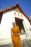Monk at Buddhist Temple in Bangkok, Thailand Photographic Print