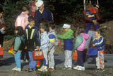 Young Children Waiting to Board School Bus Photographic Print