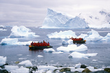 Ecological Tourists in Inflatable Zodiac Boat in Paradise Harbor, Antarctica Photographic Print