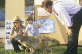 A Boy Learning About Coyotes at a Wildlife Exhibition Photographic Print