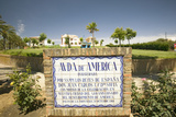 Tile Sign Along the Avenida De America Reads, Ave Photographic Print