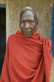 Masai Senior Elder Man in Red Robe in Village Near Tsavo National Park, Kenya, Africa Photographic Print