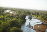 Aerial Photos of River and Lewa Conservancy in Kenya, Africa Photographic Print