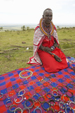 Masai Female in Robe with Beads Selling Jewelry in Village Near Tsavo National Park, Kenya, Africa Photographic Print