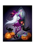 feoris - Halloween Illustration : a Beautiful Witch Looking at a New York City - Reprodüksiyon