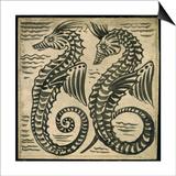 Sea-Horse (W/C on Paper) Print by William De Morgan