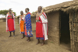 Masai Females in Robes in Village Near Tsavo National Park, Kenya, Africa Photographic Print