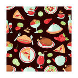 Restaurant Seamless Pattern Posters by  Macrovector