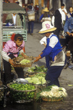 Selling Vegetables in Bei People's Marketplace in Dali, Yunnan Province, People's Republic of China Photographic Print
