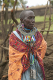 Masai Female in Robe with Beads in Village Near Tsavo National Park, Kenya, Africa Photographic Print