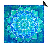 Abstract Blue Painted Picture with Circle Pattern, Mandala of Vishuddha Chakra Posters by  shooarts