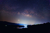 The Panorama Milky Way Rises over the Dam in Thailand.Long Exposure Photograph Photographic Print by  rueangrit