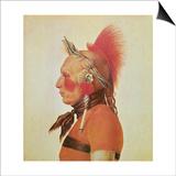 An Osage Warrior, C.1804 Posters by Charles Balthazar Julien Fevret De Saint-memin
