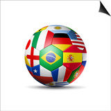 Brazil 2014,Football Soccer Ball with World Teams Flags Posters by  daboost
