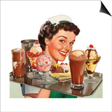 Menu Illustration of Waitress Carrying Ice Cream Desserts Art