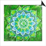 Abstract Green Painted Picture with Circle Pattern, Mandala of Anahata Chakra Plakater af shooarts