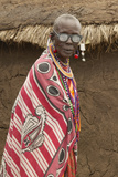 Masai Senior Elder Man with Eyeglasses in Village Near Tsavo National Park, Kenya, Africa Photographic Print