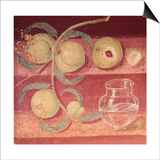 Fresco of Water Pot and Fruit in Pompeii Kitchen Poster by Gustavo Tomsich