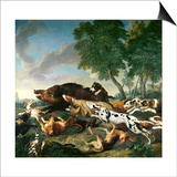Wild Boar Hunt Poster by Alexandre-Francois Desportes