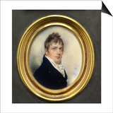 Portrait Miniature of Captain Jonathan Birch, Wearing Blue Coat and White Waistcoat, 1805 Poster by William Wood
