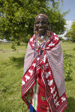 Masai Female in Robe in Village Near Tsavo National Park, Kenya, Africa Photographic Print