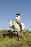Female Horseback Rider and Horse Ride Overlooking Lewa Wildlife Conservancy in North Kenya, Africa Photographic Print