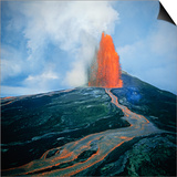 Lava fountain in Pu'u O'o Vent on Kilauea Volcano Print by Douglas Peebles