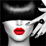 Black and White High Fashion Model Girl Portrait with Trendy Hair Style, Make Up and Manicure Posters by Subbotina Anna