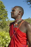 Masai Warrior in Red Robe of Lewa Conservancy, Kenya Africa Photographic Print