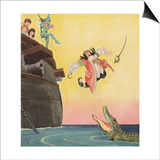 Illustration of Captain Hook Falling Overboard by Roy Best Posters