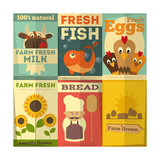 Set of Posters for Organic Farm Food Posters by  elfivetrov
