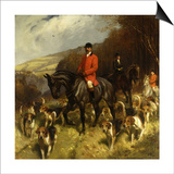 Mr and Mrs Lewis Priestman on Hunters with the Braes of Derwent Hunt in a Landscape Posters by John Charlton