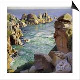 Logans Rock, Porthcurno Beach, Cornwall Print by Harold Harvey