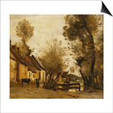 Flesselles, Street with Peasant and Cow Posters by Jean-Baptiste-Camille Corot