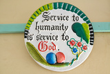 "A Ceramic Plate Says ""Service to Humanity Is Service to God"" in Meru, Kenya, Africa Photographic Print"
