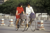 Bicyclists on the Streets of Beijing in Hebei Province, People's Republic of China Photographic Print