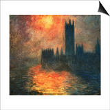 The Parliament, Sunset Prints by Claude Monet
