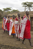 Masai Females in Robes Singing in Village Near Tsavo National Park, Kenya, Africa Photographic Print